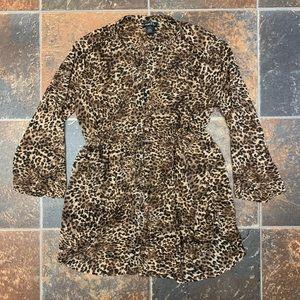Leopard Print Elastic Waist Womans Blouse